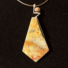 Natural Yellow Crazy Lace Agate Pendant w/ Red Snake Skin Jasper in Silver Plate
