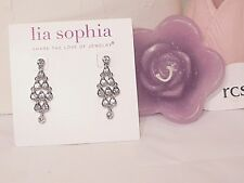"Beautiful Lia Sophia ""TURNED UP"" Chandelier Earrings, All Cut Crystals, NWT"