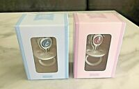 Silver Plated Diamante Dummy Pink Or Blue Crystal Christening Baby Gift Twins ?