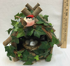 "Bird House Decorative Wood w/ Nest Eggs Indoor Decor Handmade Ivy Vine 9"""