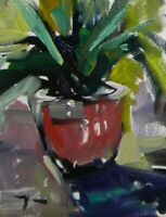 "JOSE TRUJILLO - OIL PAINTING 8X10"" Impressionism FLOWER POT SIGNED CANVAS 005"