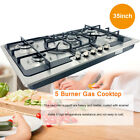 """5 Burners Gas Stove 35"""" Built-In Gas Cooktop Stainless Steel Natural Gas Propane photo"""