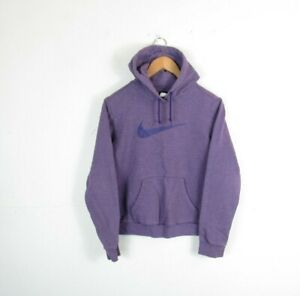 Womens Nike Purple Pullover Big Centre Logo Hooded Sweatshirt Jumper Size M