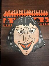 Early Vintage Halloween Paper Witch Mask W/ Attached Honeycomb Band Hat Dynamite