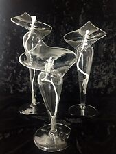 Lamplight Farms Calla Lily Glass Oil Lamp Set of 3 Hand-Blown Candle Table Decor