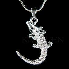 w Swarovski Crystal CROCODILE alligator Gator Caimans Charm Necklace Jewelry New