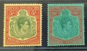 NYASALAND 1944 KG VI 5s 10s SG 141a 142a Sc 65a 66 MLH (picture 3 not for sell)