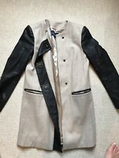 French Connection Womens Beige Coat With Black Leather Sleeves