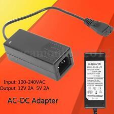 100-240V 12V 5V Black Plastic AC-DC Adapter Power Supply For HARD DISK Drive New