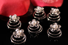 12 Crystal & White Pearl Flower Bridal Wedding Hair Twist-Ins