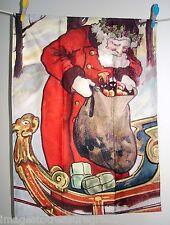 EDIZIONE LIMITATA TEA ASCIUGAMANO con immagine FR VINTAGE Cartolina di SANTA W GIOCATTOLI & Sled