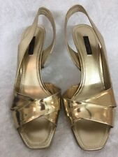 Louis Vuitton shoe gold metallic sling open Toe new Size 40