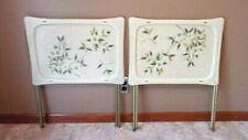 Vintage Quaker Indus. Fiberglass Floral Design TV Trays - Set of 2