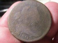 1803 DRAPED BUST LARGE CENT - SMALL DATE & FRACTION Good Cond - Lot# AV-43