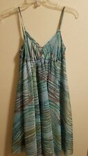 UNITED COLORS OF BENETTON Women's Blue Sheer Striped Sundress SIZE XS
