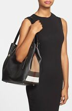 Burberry 'Maidstone' Medium Check Detail Black Leather Tote Bag  $1,295