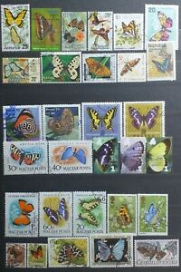 Butterflies stamps collections - 30x used stamps - mix world