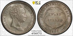 Netherlands East Indies Willem I 1/4 gulden 1840 uncirculated PCGS MS63