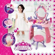 NEW Girls Vanity Makeup Dressing Table Stool Pretend Play Toy Kit w Light, Music