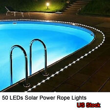 50 LED Solar Power Rope Lights Lamp Party Xmas Garden Outdoor Indoor Cool White