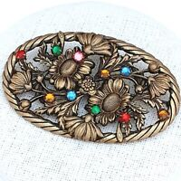 RARE Gorgeous Vintage CZECH Art Deco Multi Coloured Filigree Floral Brooch Pin