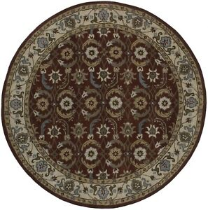 Brand New Hand Tufted Red 8X8 Traditional Agra Wool Oriental Round Rug Carpet
