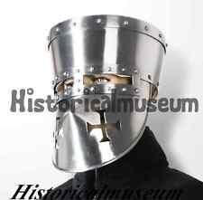 MEDIEVAL Steel Crusader Knights Templar Helmet Great Helm SPARTAN SCA LARP SXC23