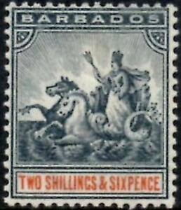 Barbados 1892-1903  2/6d Blue-Black & Orange   SG.114 Mint (Hinged)  Cat:£48