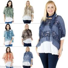 Maglie e camicie da donna maniche a 3/4 taglia unici girocollo