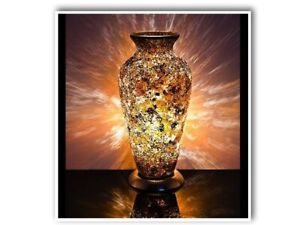 Mosaic Vase Lamp In Yellow/Gold Bedroom/Table Light
