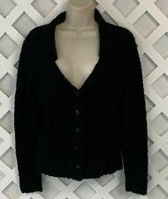 Peruvian Connection Cardigan Sweater Womens Sz S Black Pima Cotton Alpaca Silk
