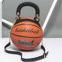Basketball Shaped Shoulder Messenger Purse Bag Mini Tote Cross Body PU Handbag