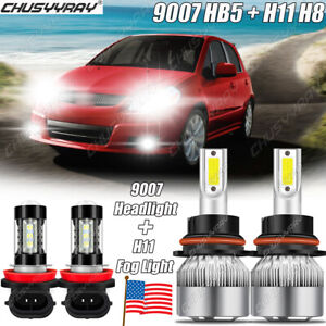 For Suzuki SX4 2007 2008-2013 4x Combo 9007 & H11 LED Headlight Fog Light Bulbs
