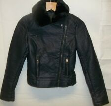 Members Only Urban Outfitters Wos XS Navy Blue faux Leather moto Jacket New 2613