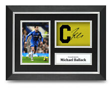 Michael Ballack Signed A4 Framed Captain Armband Photo Display Chelsea Autograph