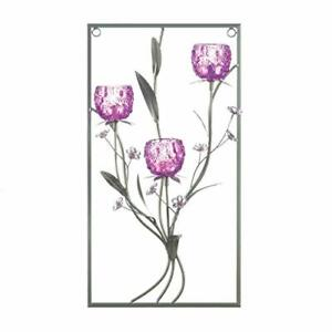 Gallery of Light Purple Flower Rectangular Three Candle Wall Sconce
