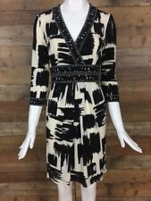 Max and Cleo Dress Size XS Black Ivory Abstract  3/4 Sleeves Faux Wrap Stretch