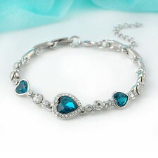 2015 New Fashion Lady Ocean Blue Crystal Rhinestone Heart Bangle Bracelet