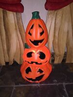 "New Halloween 22"" Triple Pumpkin Stacker Lighted Blow Mold Decoration"