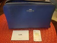 Coach F57856 Cosmetic Case 22 Makeup Pouch Bag Leather Sky Blue