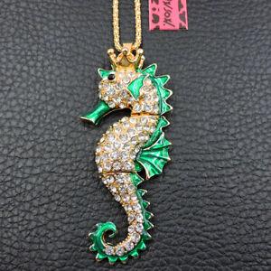 New Green Crystal Enamel Seahorse Pendant Betsey Johnson Sweater Necklace