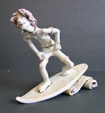 Rare Vintage Dino Bencini Surfer Ceramic Porcelain Figurine Surfing Surfboard