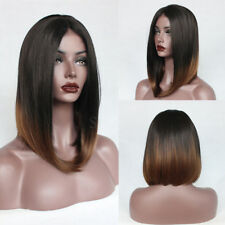 Ombre Short Bob Straight Synthetic Lace Front Wigs Heat Resistant Layered Wig