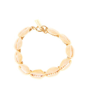 RRP €285 ISABEL MARANT Shell Cuff Bracelet Spring Ring Clasp Logo Charm