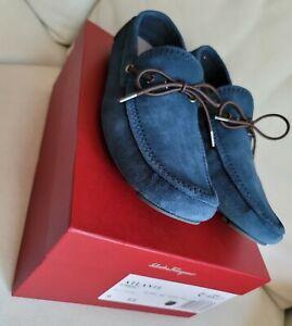 Salvatore Ferragamo 9 EE Atlante Blue Suede Slipon Car Shoe Driver $795 ITALY