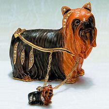 Kubla Crafts Detailed Trinket Box - Yorkshire Terrier w/ Necklace - #Kub-3935Yn