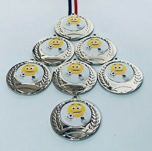 Kids Football Party Medals with RIBBONS + FREE LASER Engraving