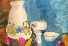 Vintage expressionist still life oil painting
