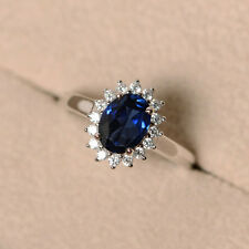 1.33 Ct Sapphire & Diamond Engagement Cluster Ring Solid 10K White Gold