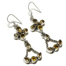 Faceted Citrine Gemstone silver plated Handmade Oxidized Dangle Earrings